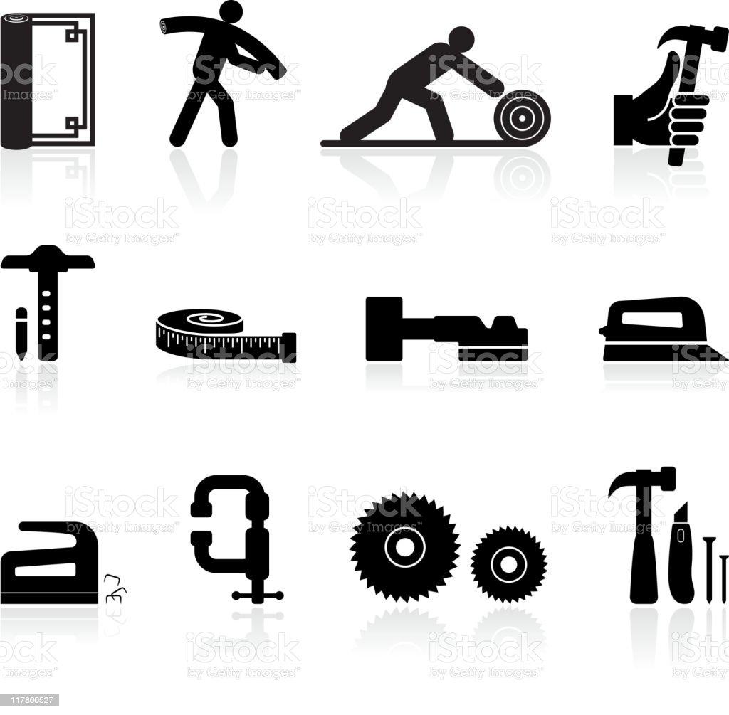 carpenter black and white royalty free vector icon set vector art illustration