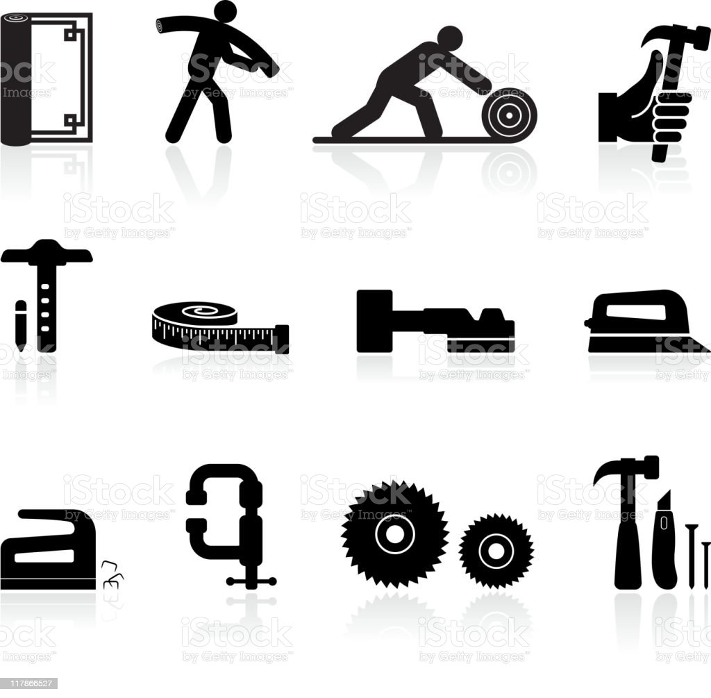carpenter black and white royalty free vector icon set vector art illustration