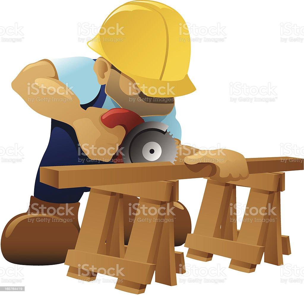 Carpenter - Circular Saw royalty-free stock vector art