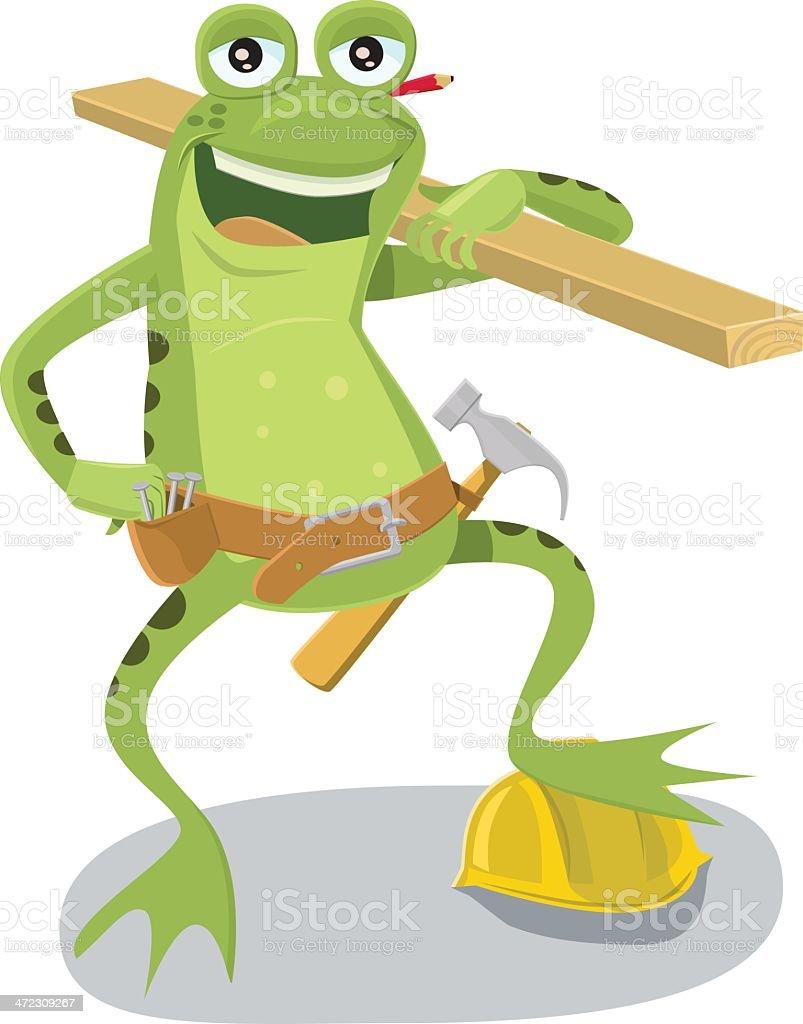 Carpenter/ Construction Frog royalty-free stock vector art