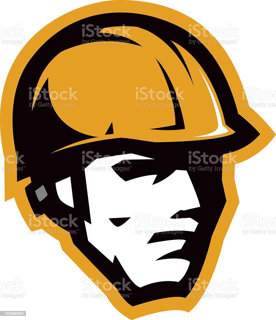 Carpenter head mascot vector art illustration
