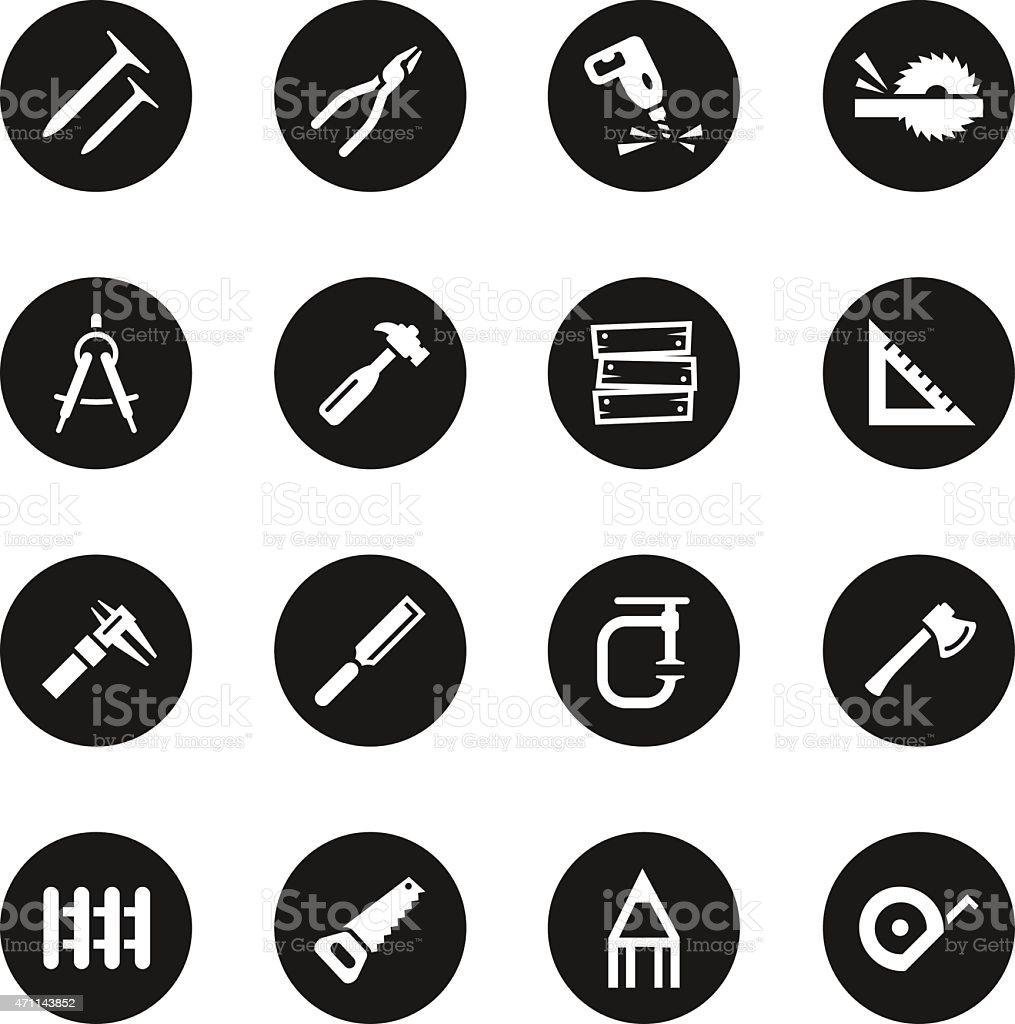 Carpenter Icons - Black Circle Series vector art illustration
