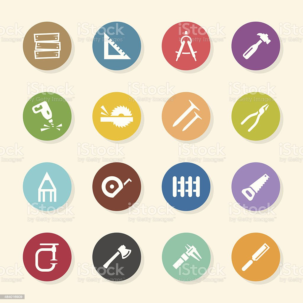 Carpenter Icons - Color Circle Series vector art illustration