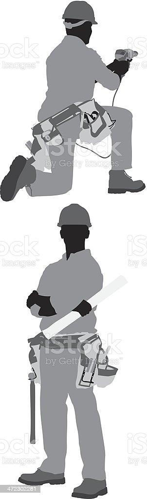 Carpenter posing royalty-free stock vector art