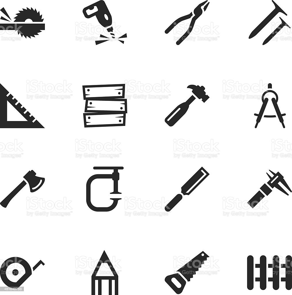 Carpenter Silhouette Icons royalty-free stock vector art