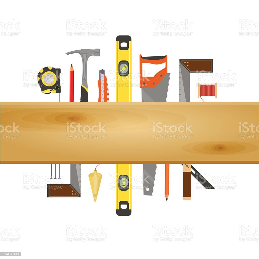 Carpenter Tool Flat Banner vector art illustration