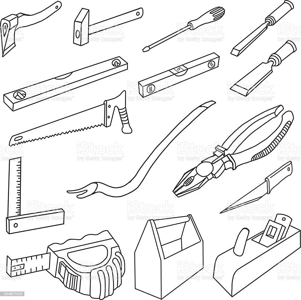 Carpenter Tools Doodles vector art illustration