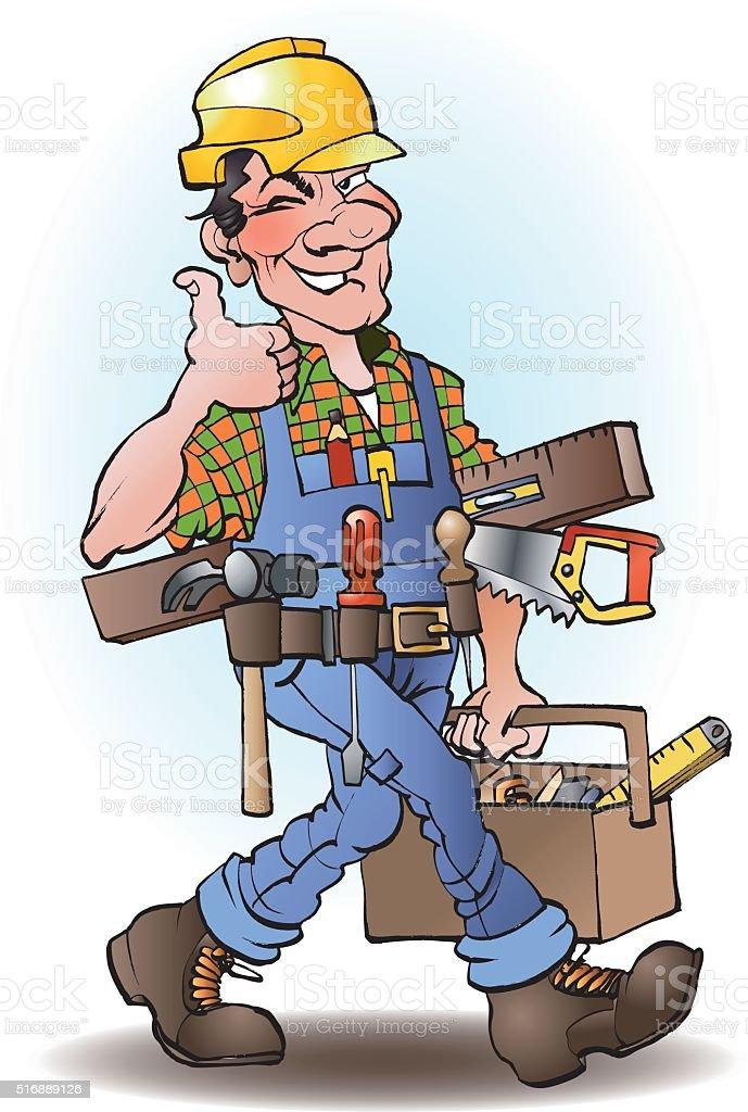 Bauarbeiter bei der arbeit comic  Tischler Vektorcomic Vektor Illustration 516889126 | iStock