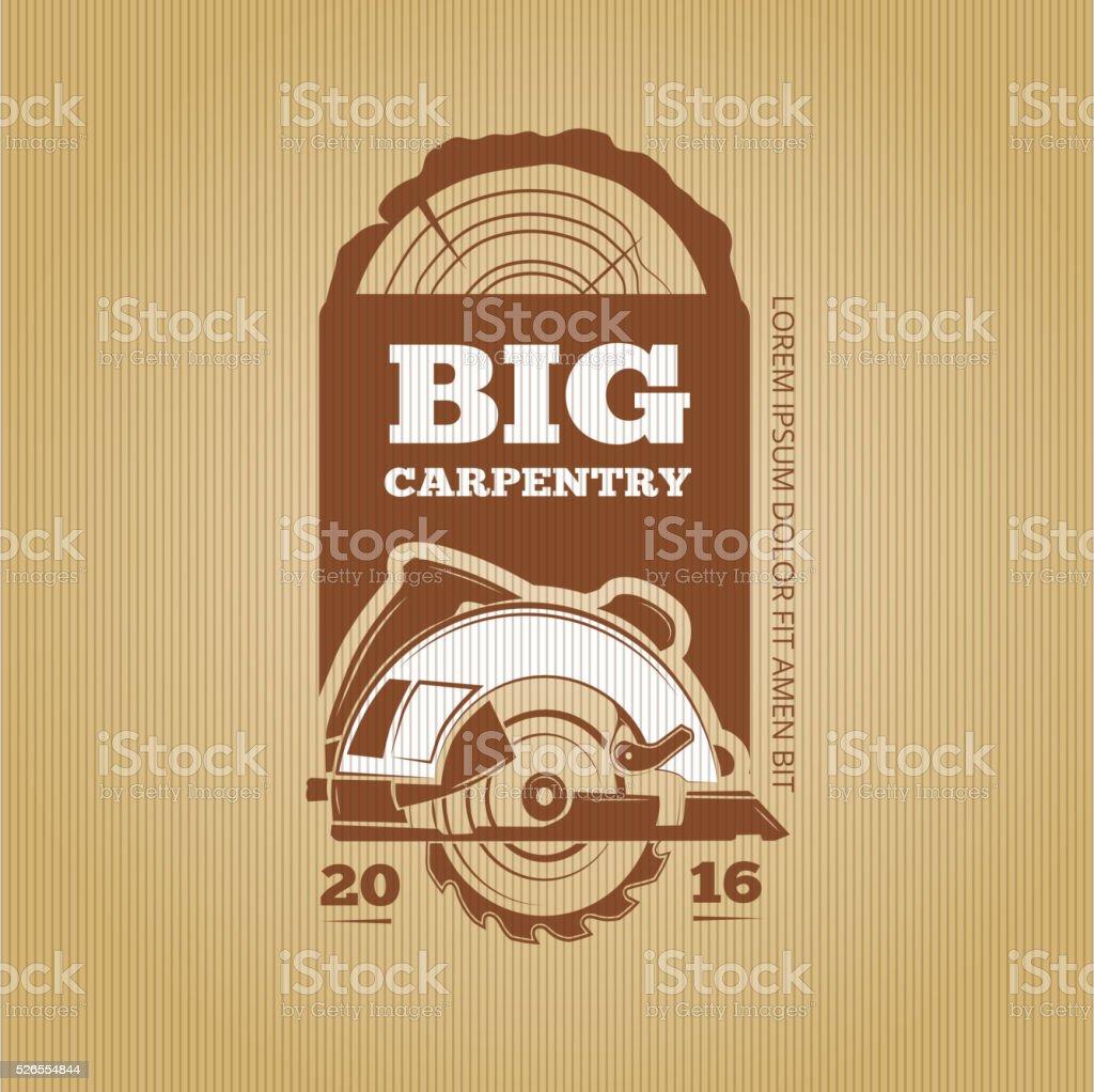 Carpenter vector vintage design for poster, label, badge and t vector art illustration