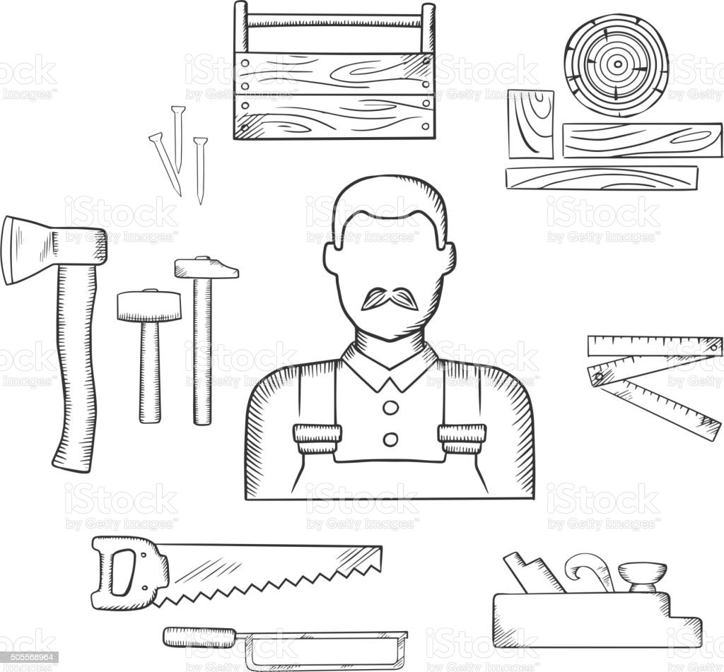 Carpenter with timber and tools sketch icons vector art illustration