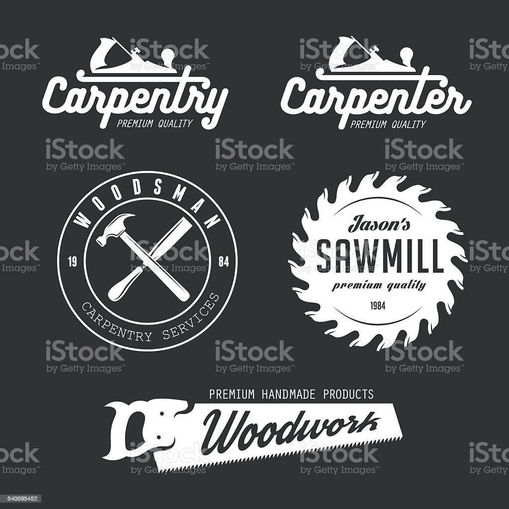 Carpentry emblems, badges, design elements. vector art illustration