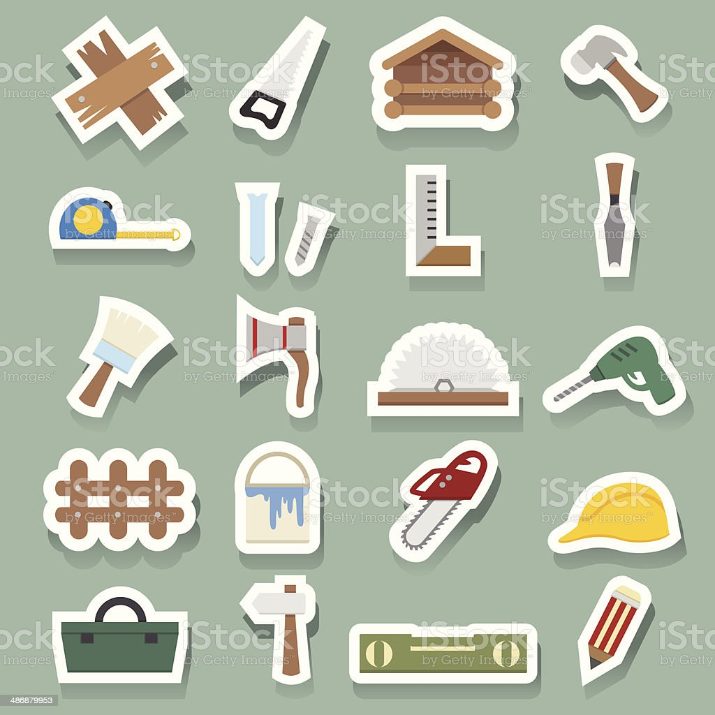 Carpentry Icons sticker royalty-free stock vector art