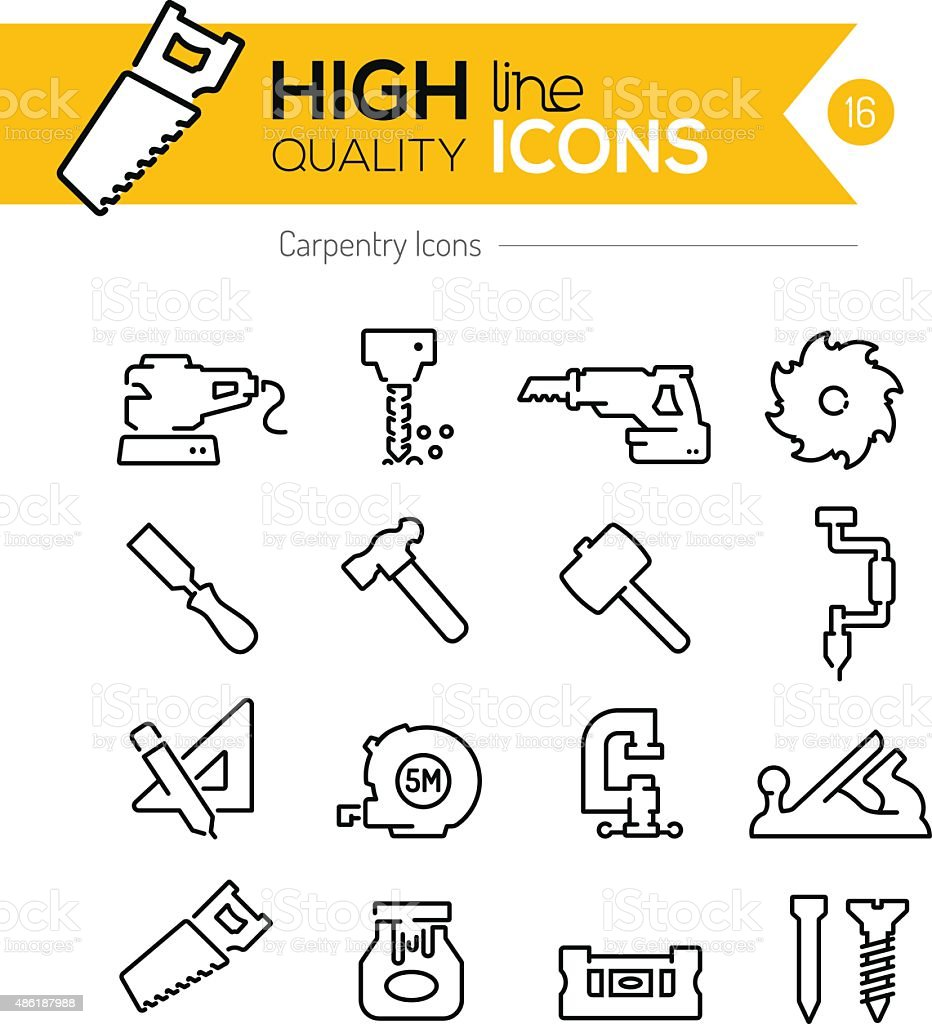 Carpentry Line Icons vector art illustration