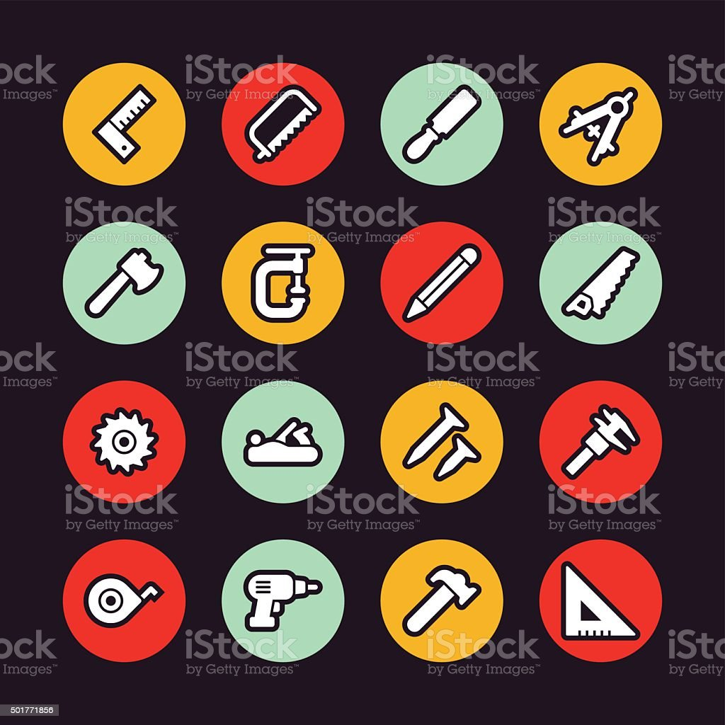 Carpentry tools icons - Regular Outline - Circle vector art illustration