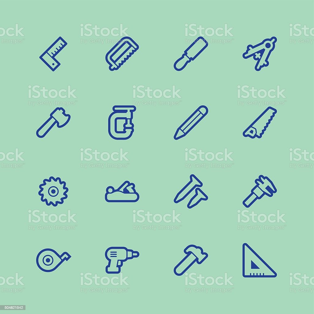 Carpentry tools icons - Regular Outline Color vector art illustration