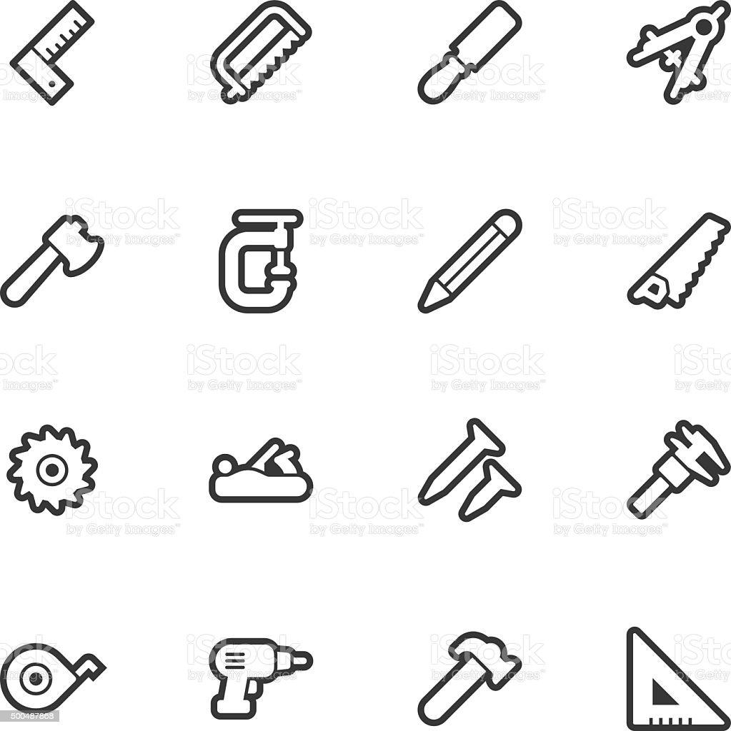 Carpentry tools icons - Regular Outline vector art illustration