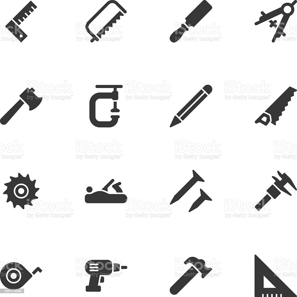 Carpentry tools icons - Regular vector art illustration