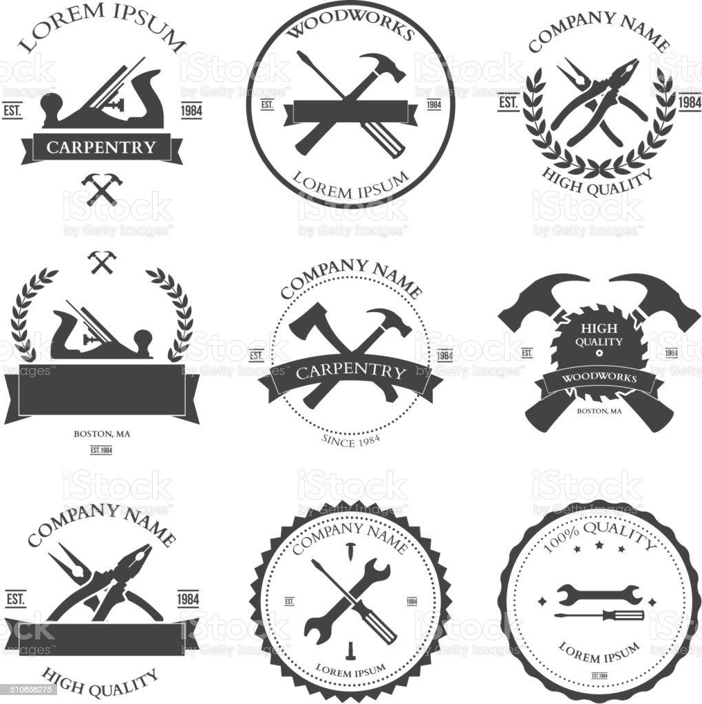 Carpentry tools. labels and design elements vector art illustration