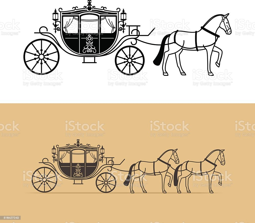 Carriage silhouette with horse vector art illustration