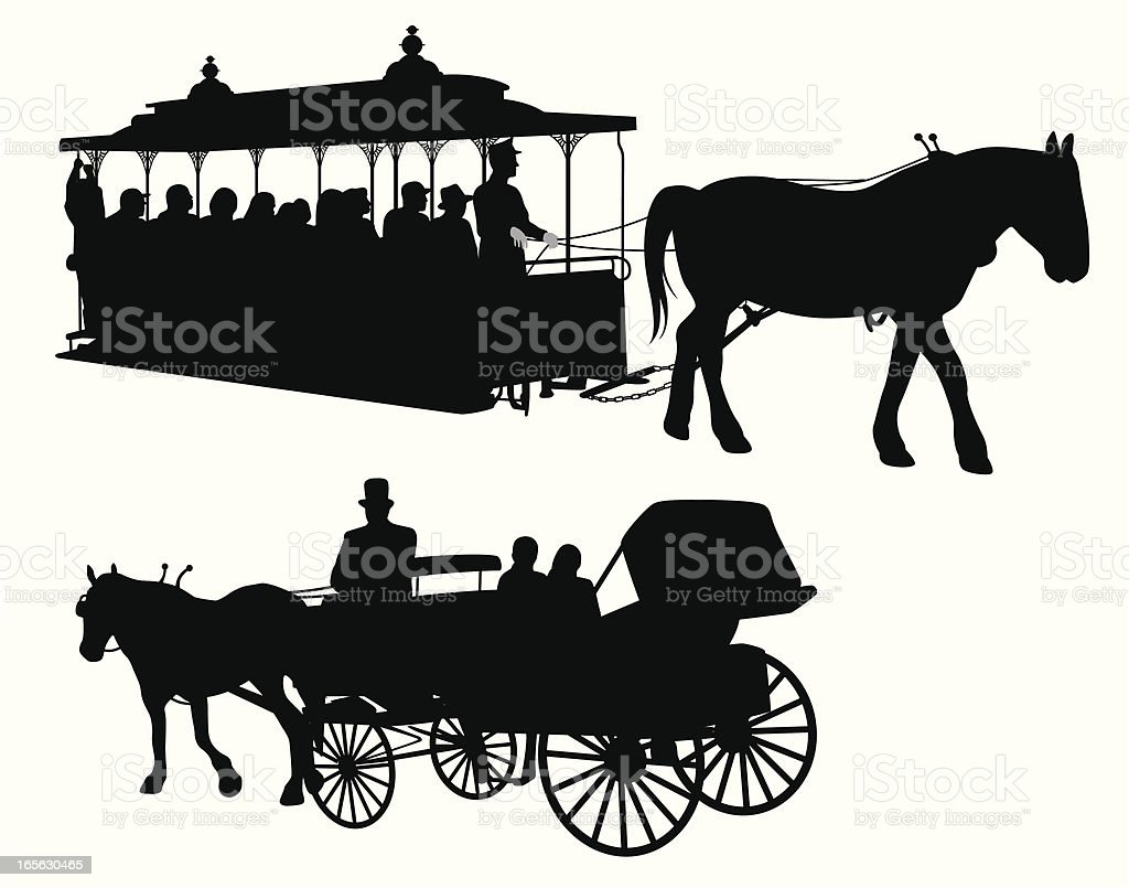 Carriages Vector Silhouette vector art illustration