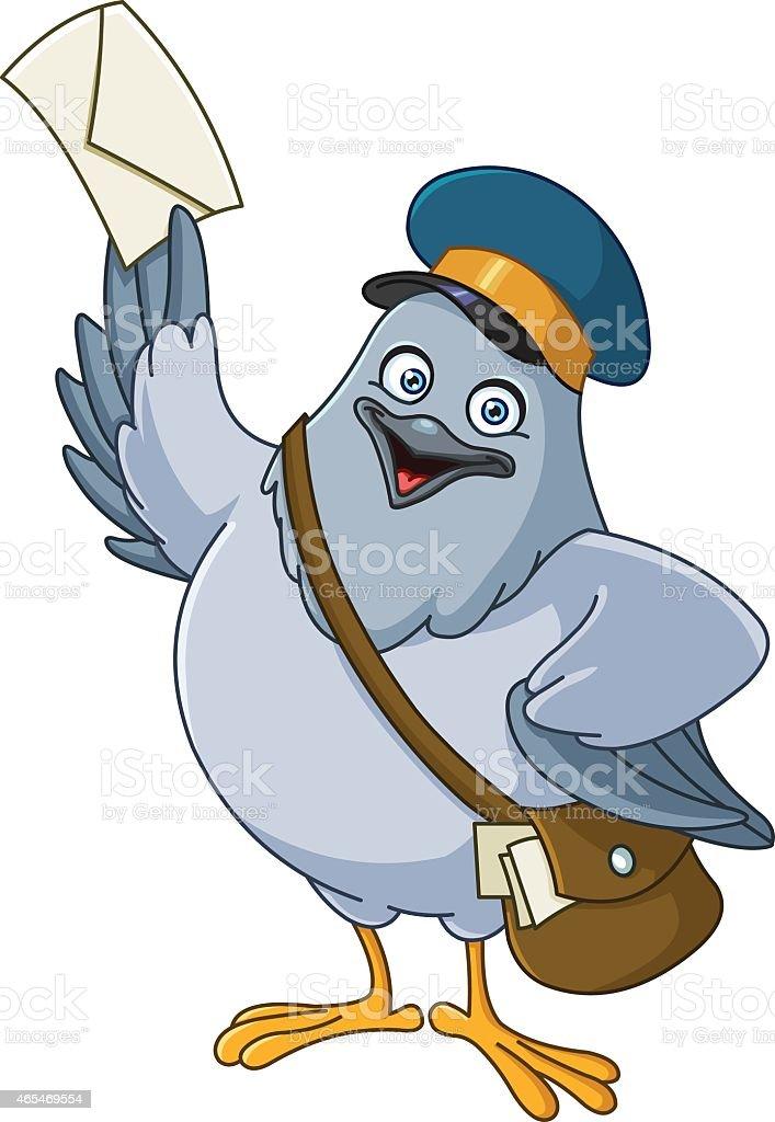 Carrier pigeon cartoon vector art illustration