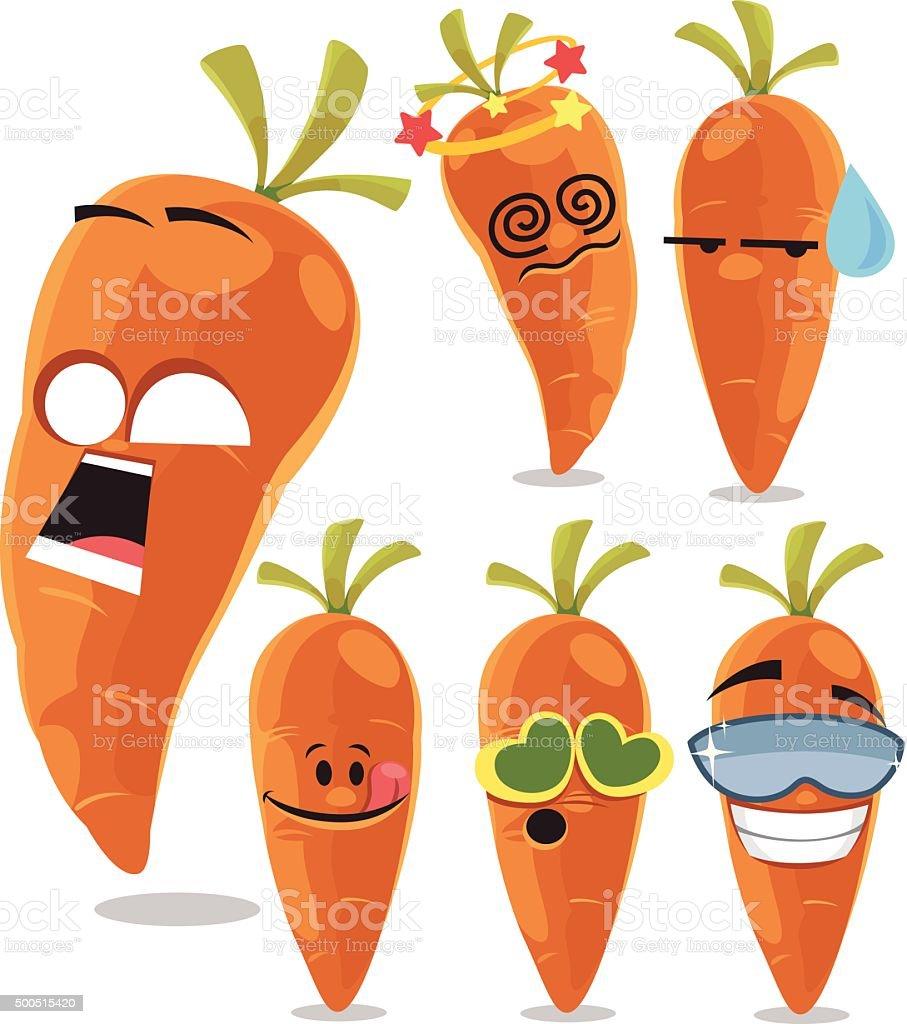 Carrot Cartoon Set A vector art illustration