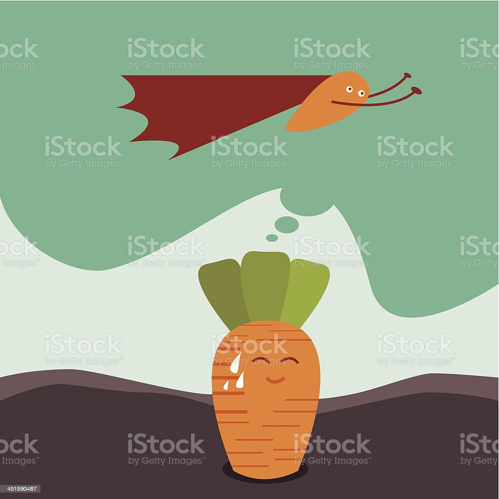 Carrot dreams of being a superhero royalty-free stock vector art