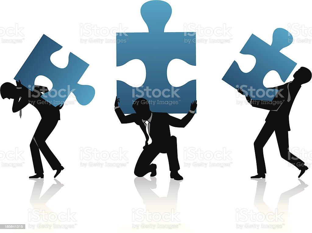 Carry Jigsaw Puzzle vector art illustration