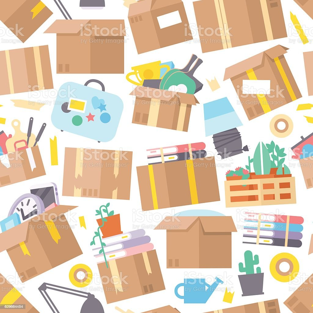Carrying boxes seamless pattern warehouse shipping container. vector art illustration