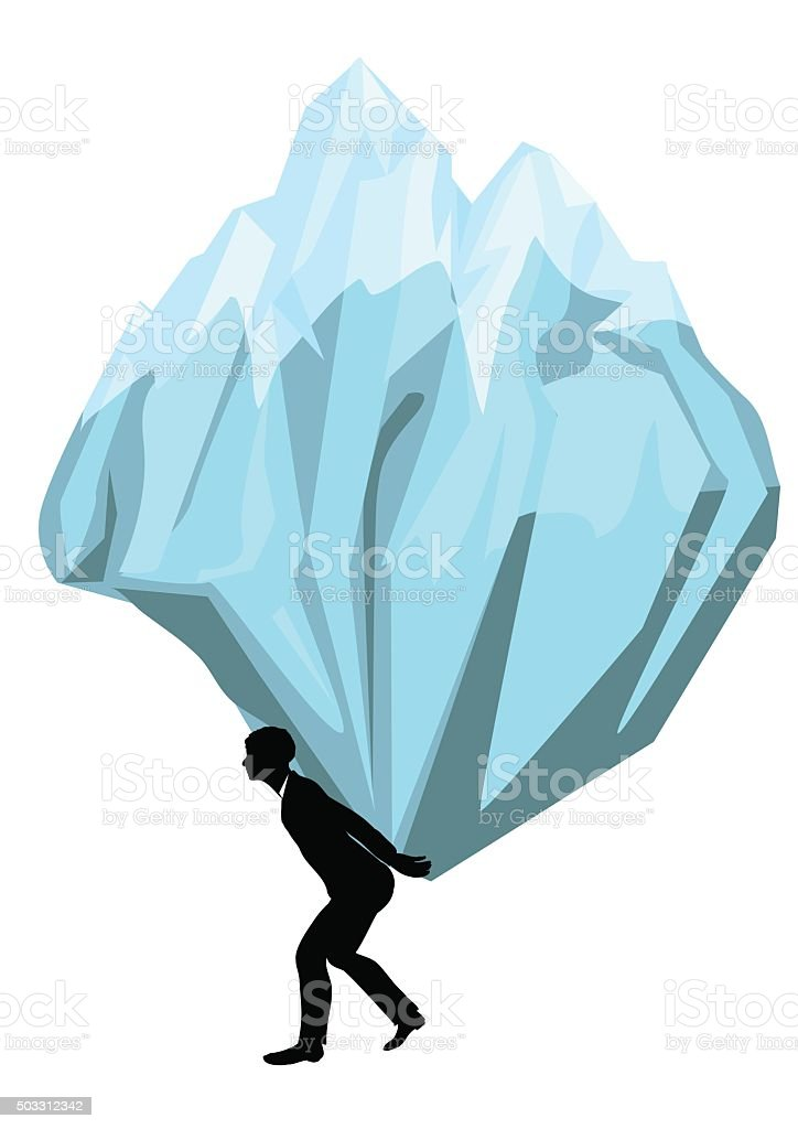 carrying. man with a mountain vector art illustration