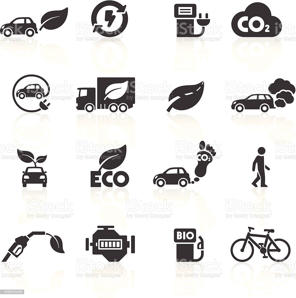 Cars and the Environment Icons vector art illustration