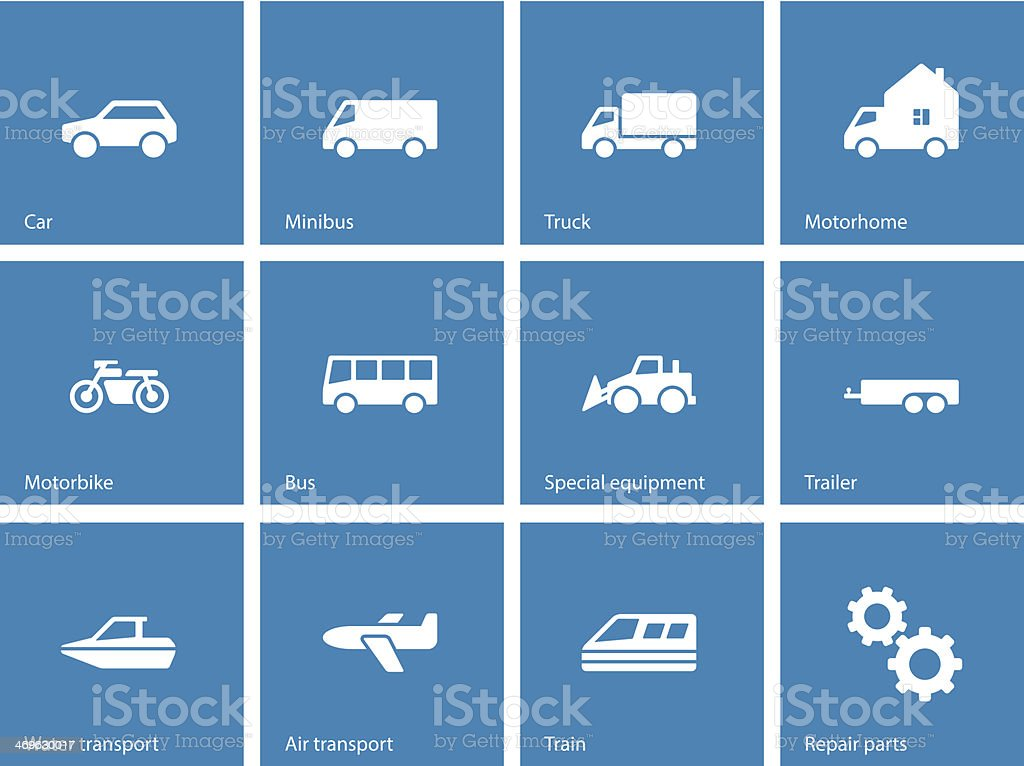 Cars and Transport icons on blue background. royalty-free stock vector art