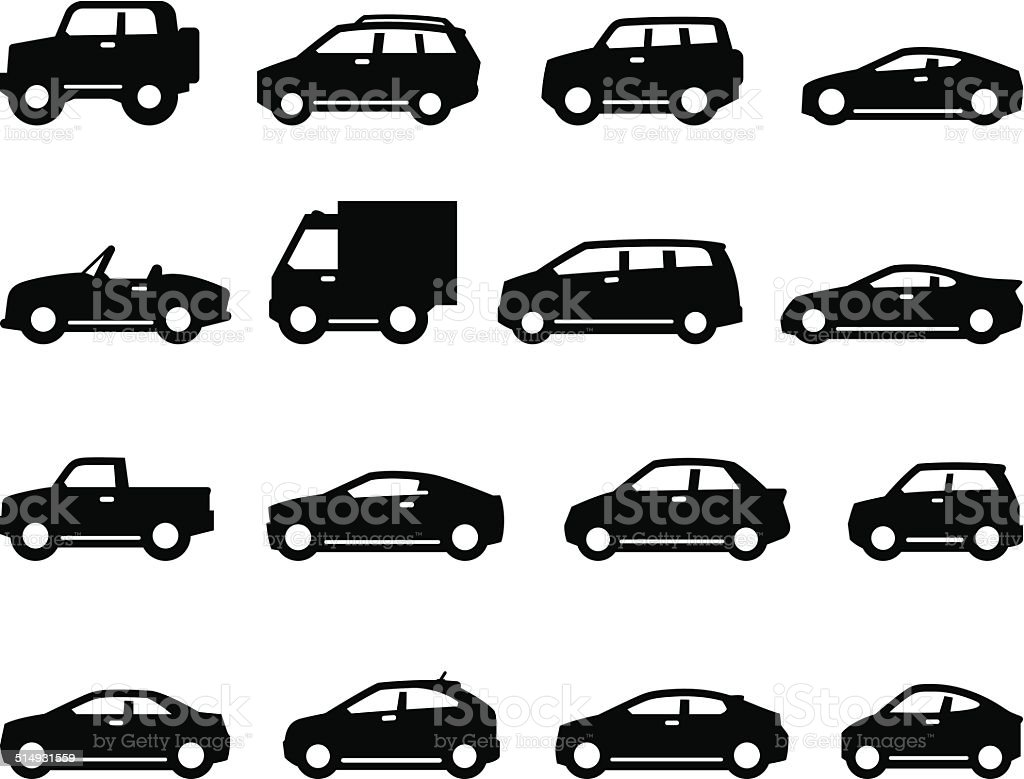 Cars And Trucks Icons - Side Views - Black Series vector art illustration