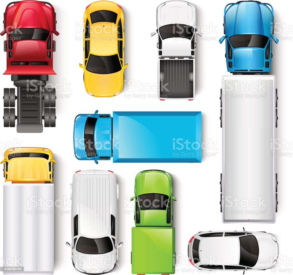 Cars and trucks top view vector art illustration