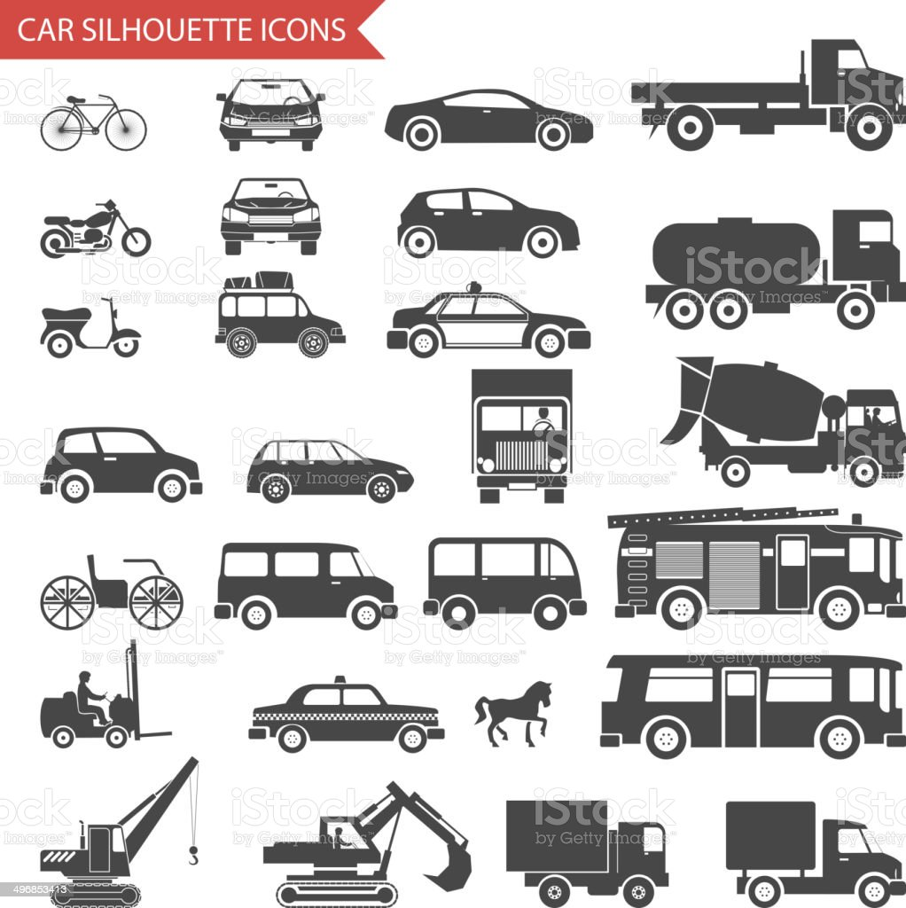 Cars and Vehicles Silhouette Icons Transport Symbols Isolated Set Vector vector art illustration
