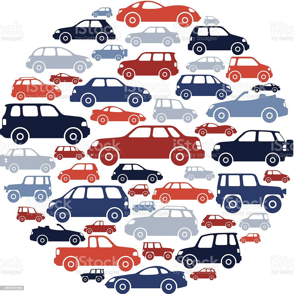 Cars Collage vector art illustration