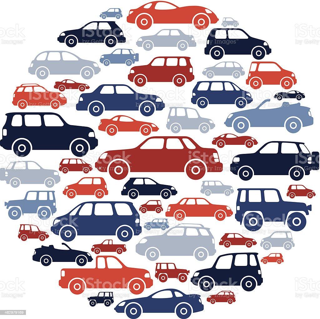 Cars Collage vector art illustration