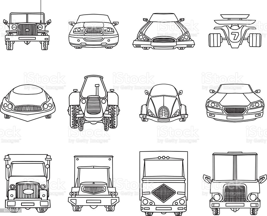 Cars Doodles vector art illustration