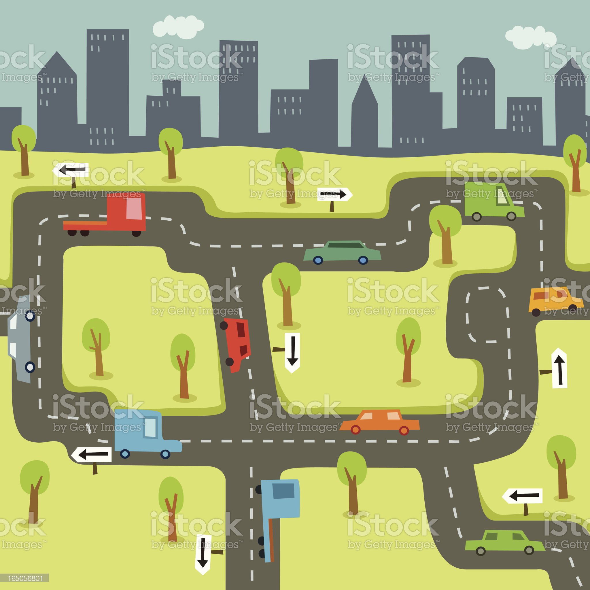 Cars Driving on Roads with City Skyline Background royalty-free stock vector art