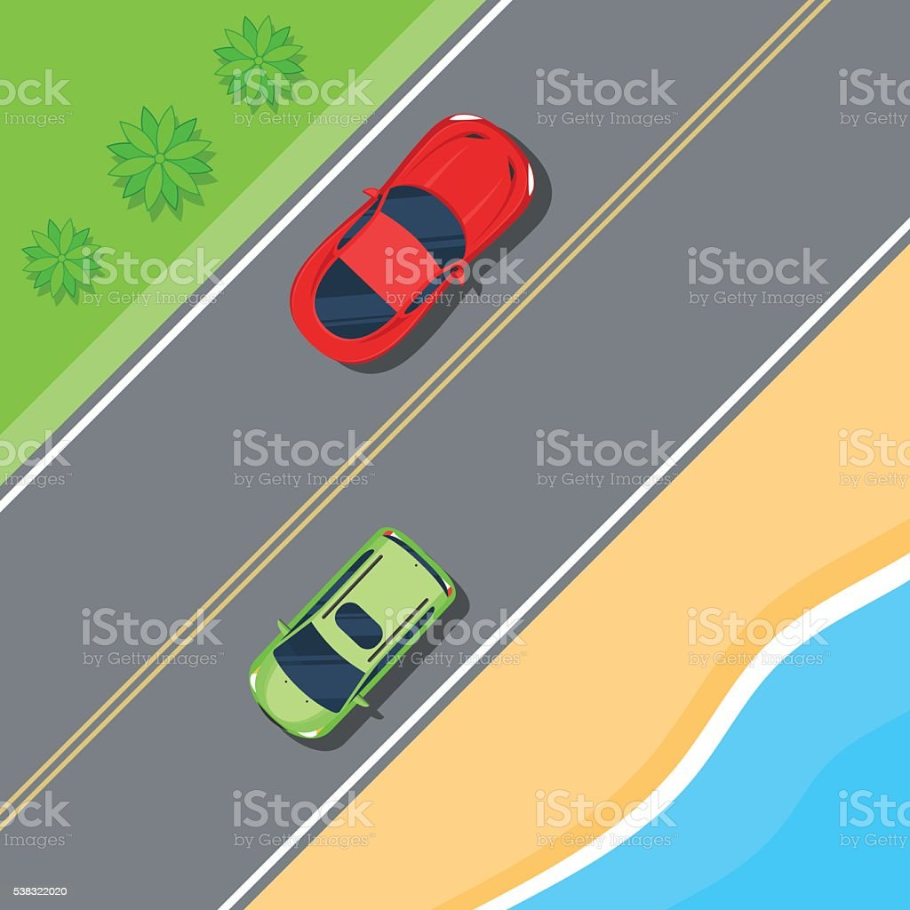 Cars driving on the road along the sea vector art illustration