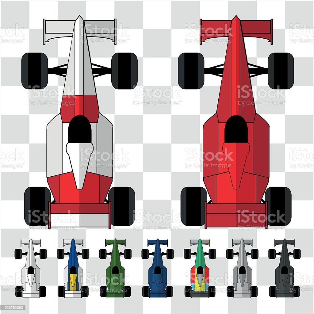 Cars F1 vector art illustration