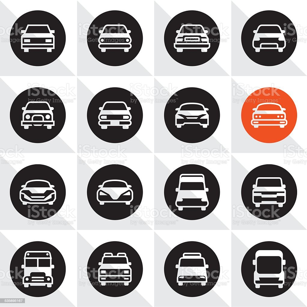 Cars front icons vector art illustration