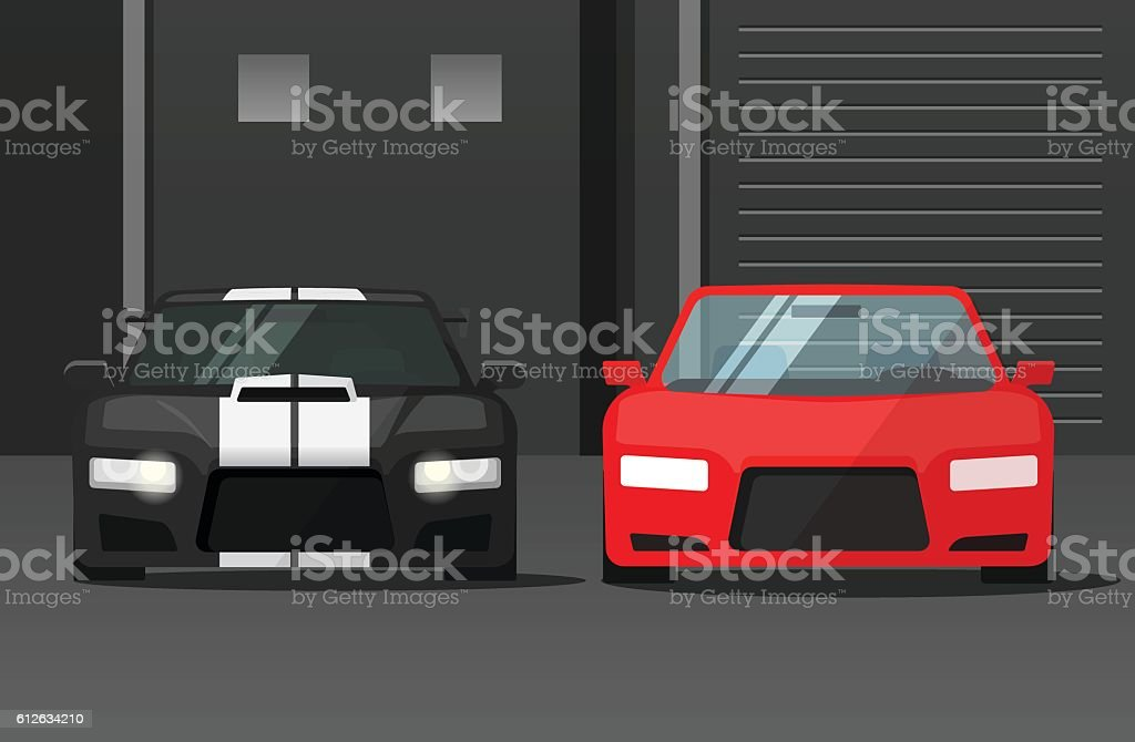 Cars front view in dark street, sport expensive auto parked vector art illustration