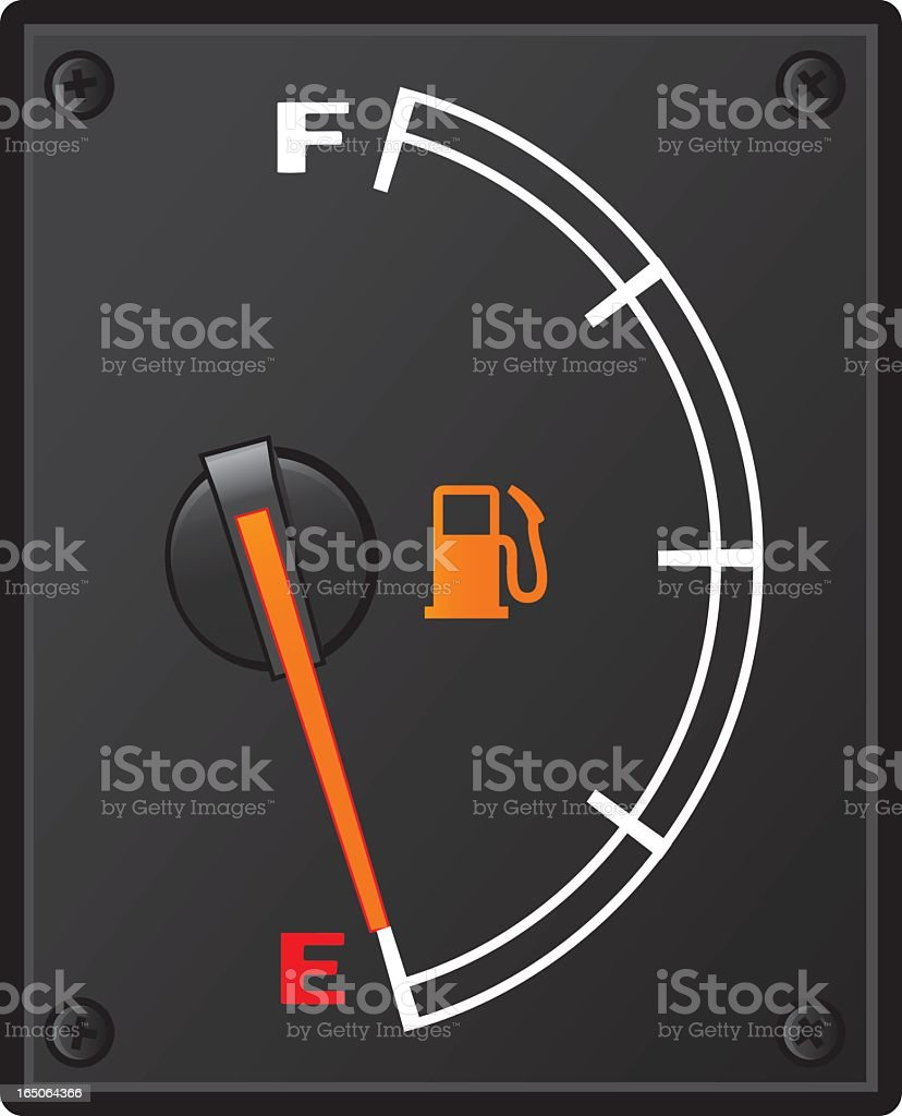 A car's fuel gauge showing an empty tank vector art illustration