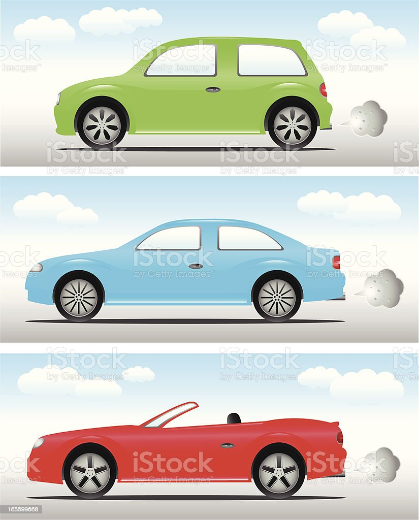 Cars: Hatchback, Saloon & Convertible vector art illustration