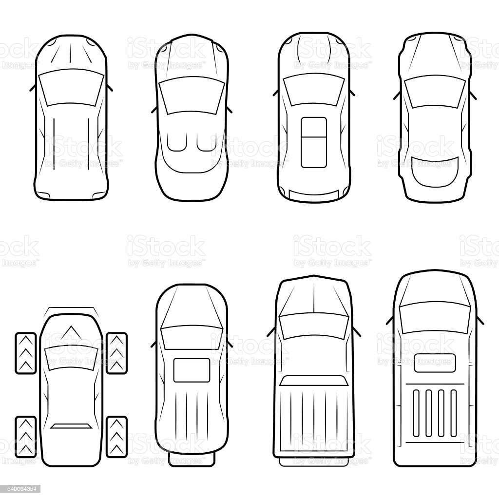 Cars icon set in thin line style, top view vector art illustration