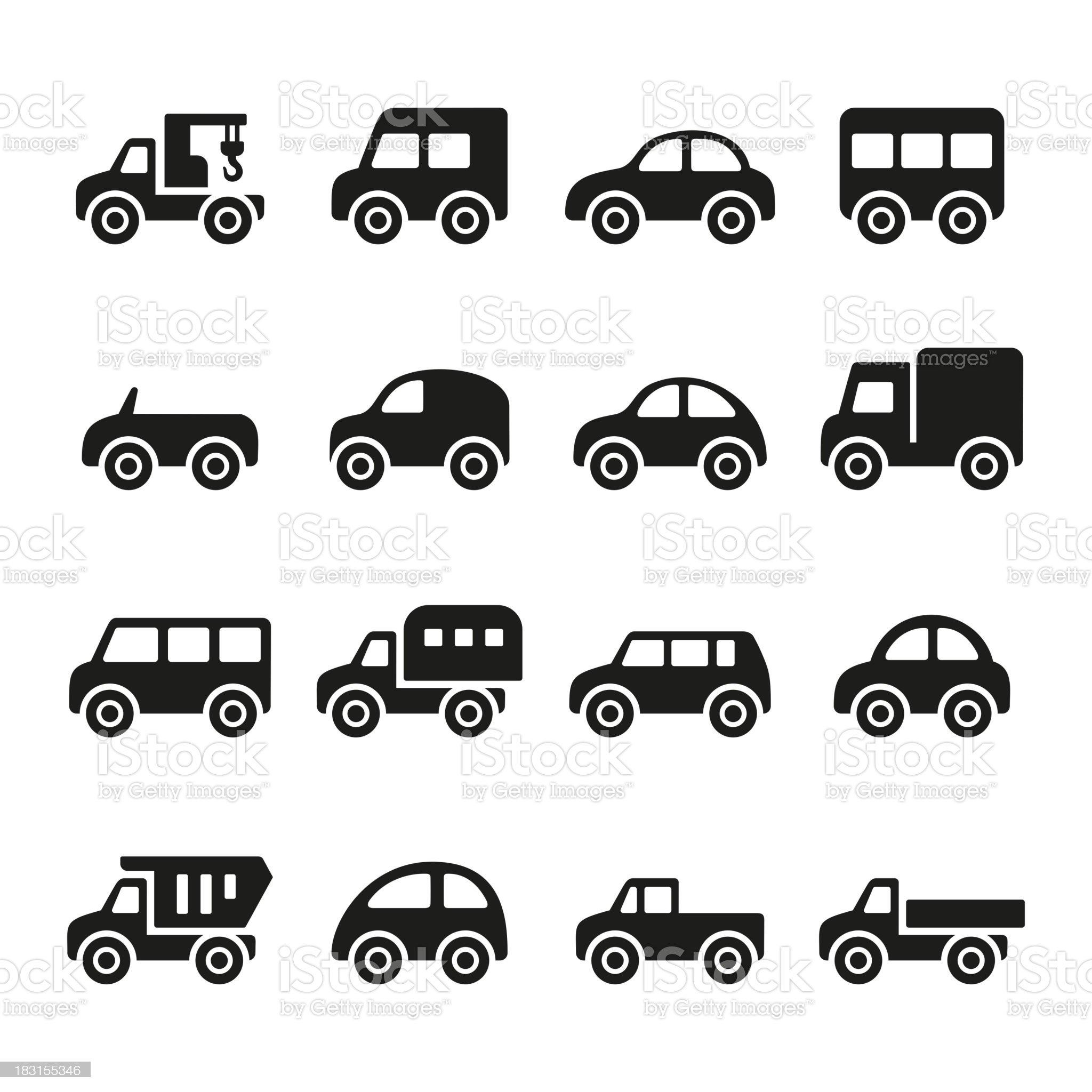Cars icon set royalty-free stock vector art