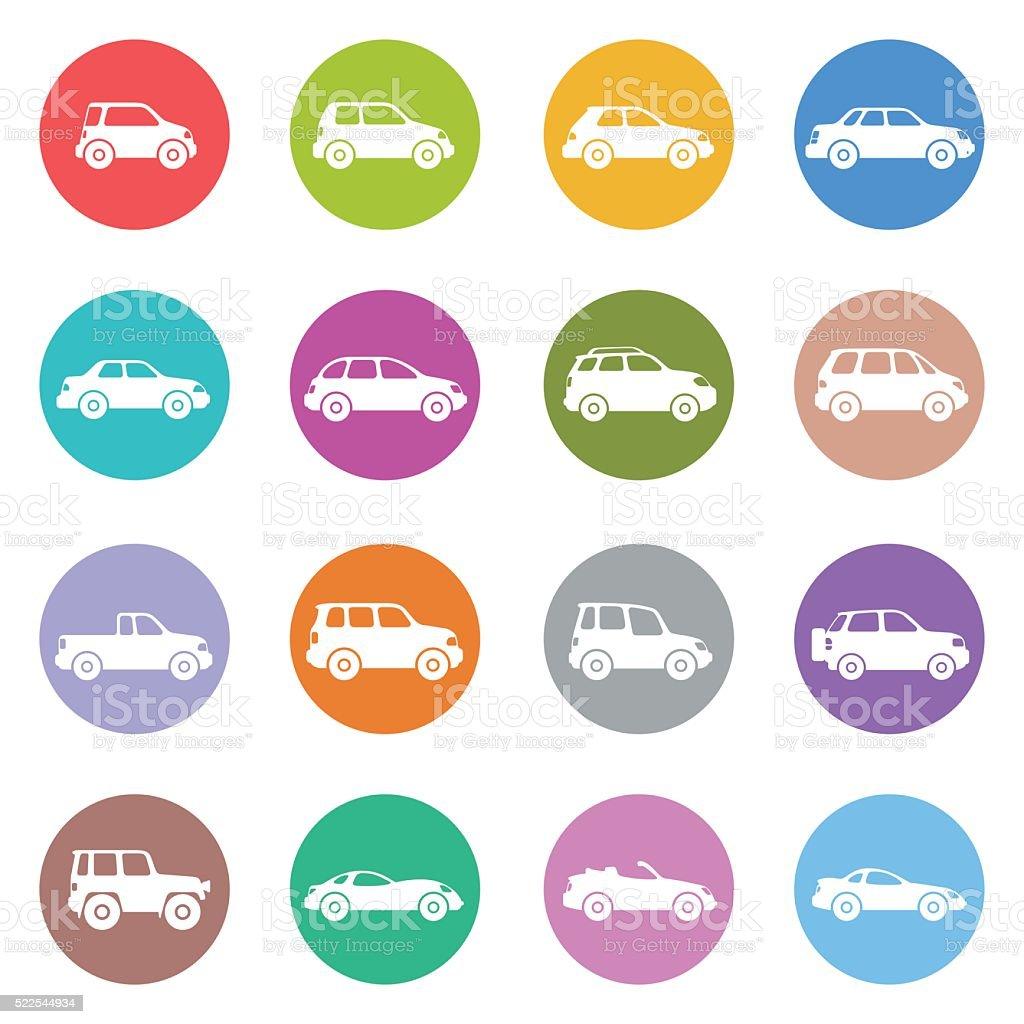 Cars Icon Set vector art illustration