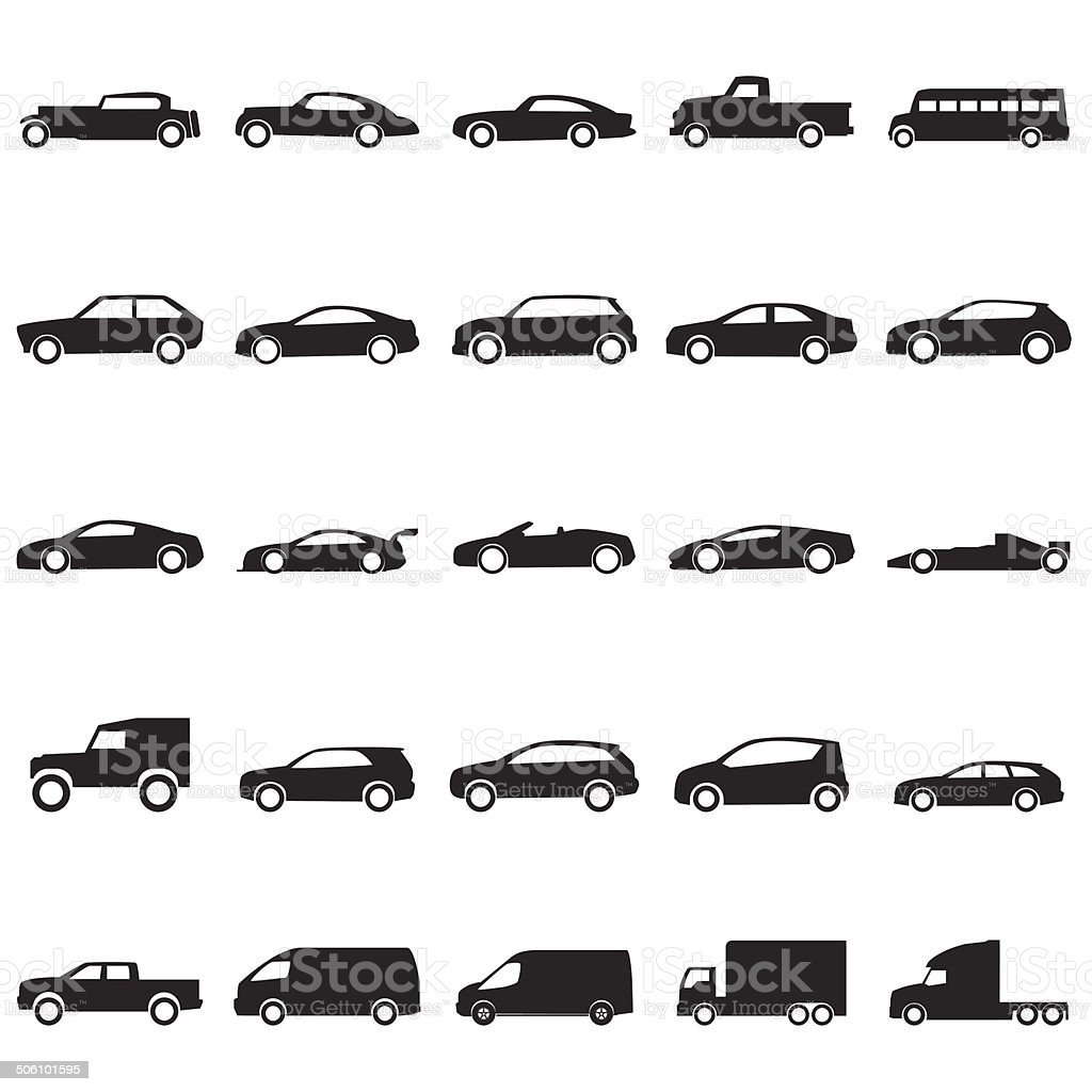 Cars icons set ,vector EPS10 vector art illustration