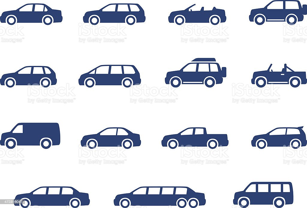 Cars icons set royalty-free stock vector art